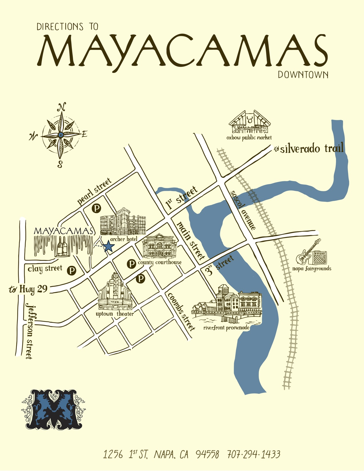 Map to Mayacamas Downtown
