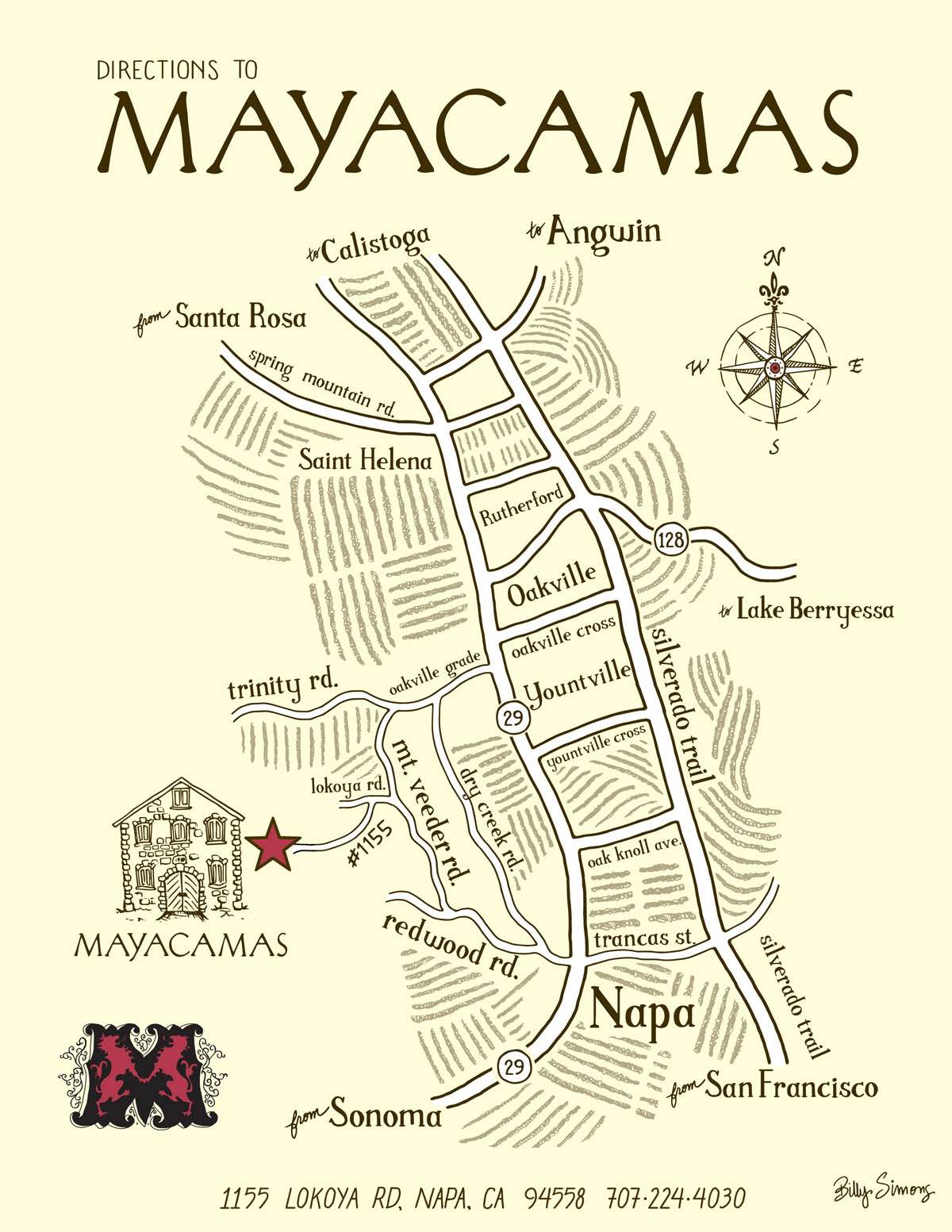 Map to Mayacamas Vineyards